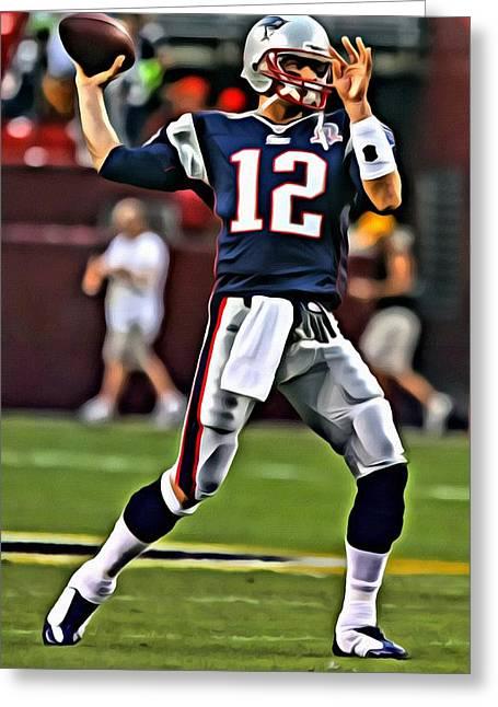 Patriots Greeting Cards - Tom Brady Greeting Card by Florian Rodarte