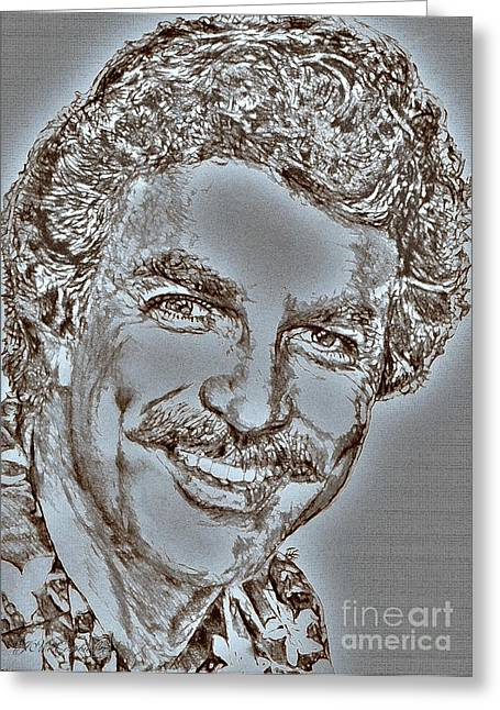 Jem Fine Arts Mixed Media Greeting Cards - Tom Selleck in 1984 Greeting Card by J McCombie