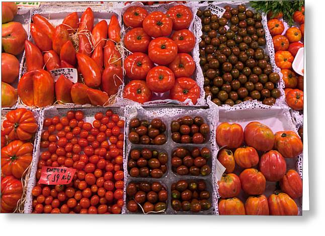Street Market Greeting Cards - Tomatoes At A Market Stall, Santa Greeting Card by Panoramic Images