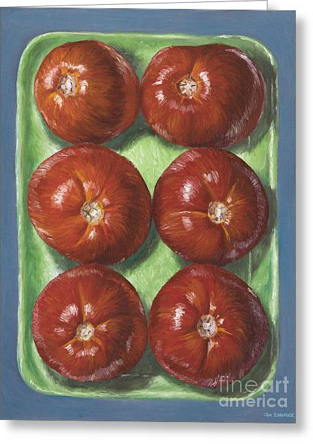 Food Digital Greeting Cards - Tomatoes in Green Tray Greeting Card by Jim Zahniser