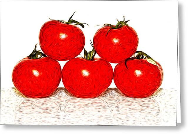 Edible Digital Art Greeting Cards - Tomatoes Greeting Card by Sabine Jacobs
