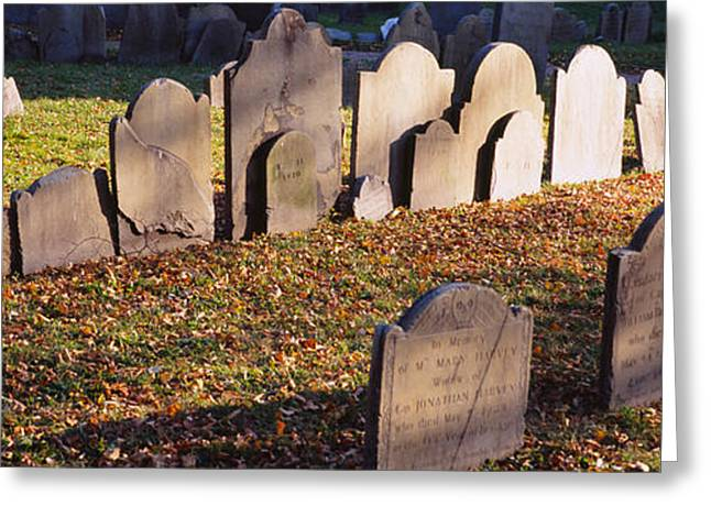 Historical Cemetery Greeting Cards - Tombstones In A Cemetery, Copps Hill Greeting Card by Panoramic Images