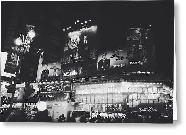 Times Square Digital Art Greeting Cards - Tonight Late Greeting Card by Natasha Marco