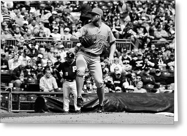 Left Hander Greeting Cards - Tony Cingrani Pitching for the Reds Greeting Card by Mountain Dreams