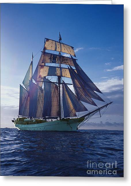 Masts Greeting Cards - Topgallant Schooner Greeting Card by Ladi  Kirn