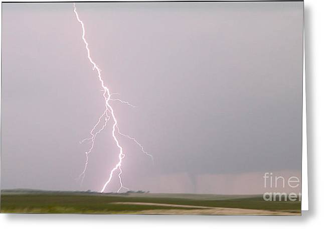 Severe Weather Greeting Cards - Tornado and Lightning Greeting Card by Francis Lavigne-Theriault