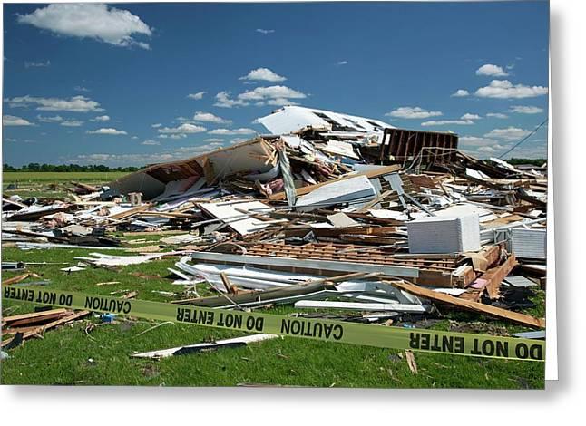 Tornado Damage Greeting Card by Jim West