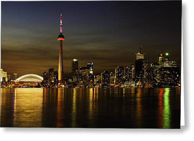 Reflections Of Sky In Water Greeting Cards - Toronto Evening Sky line Panorama Greeting Card by Peter v Quenter