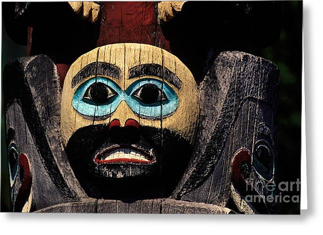 Painted Wood Greeting Cards - Totem Greeting Card by Ron Sanford