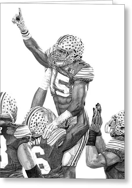 Buckeyes Greeting Cards - Touchdown Greeting Card by Bobby Shaw