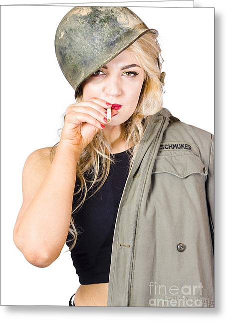 Tough And Determined Female Pin-up Soldier Smoking Greeting Card by Jorgo Photography - Wall Art Gallery
