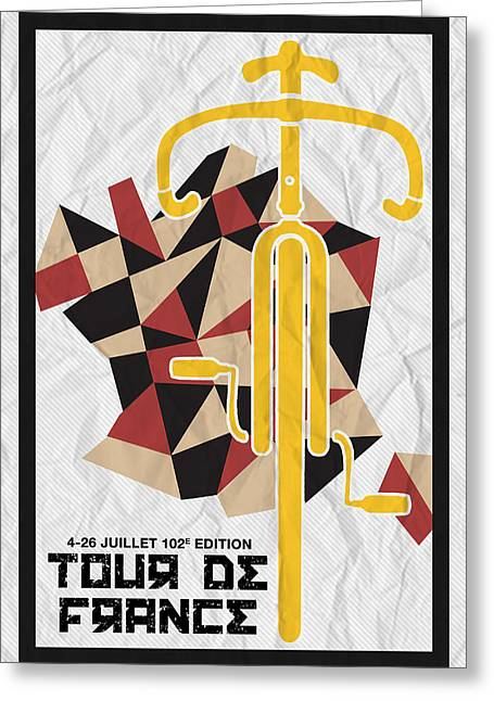 Action Sports Posters Greeting Cards - Tour de France 2015 Minimalist Poster Greeting Card by Adam Asar
