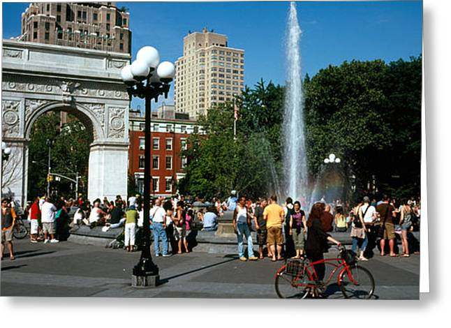 Group Of People Greeting Cards - Tourists At A Park, Washington Square Greeting Card by Panoramic Images
