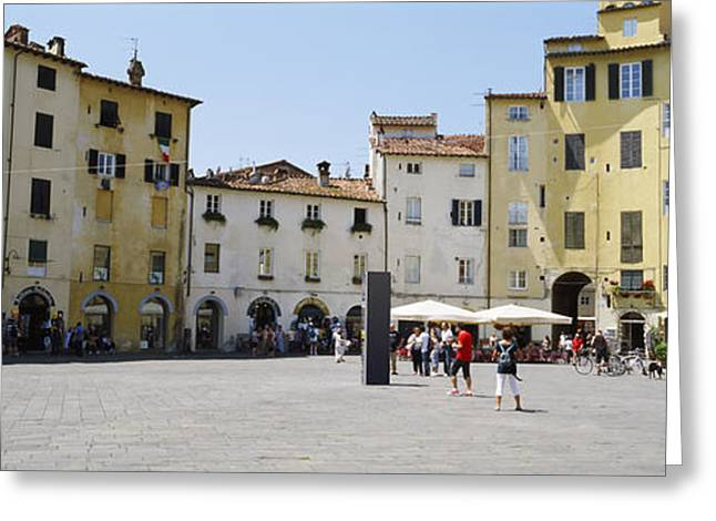 Lucca Greeting Cards - Tourists At A Town Square, Piazza Greeting Card by Panoramic Images