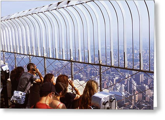 Looking At View Greeting Cards - Tourists At An Observation Point Greeting Card by Panoramic Images