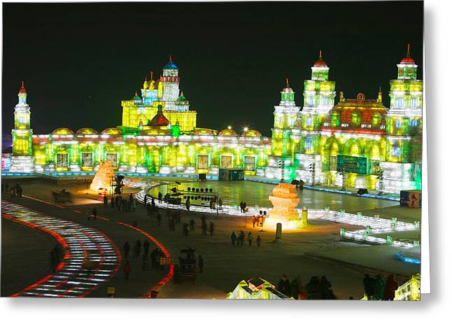 Chinese Architecture And Art Greeting Cards - Tourists At The Harbin International Greeting Card by Panoramic Images