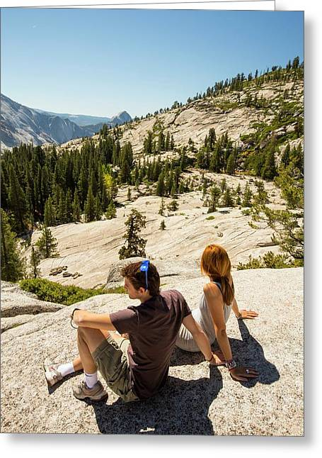 Tourists In Yosemite National Park Greeting Card by Ashley Cooper