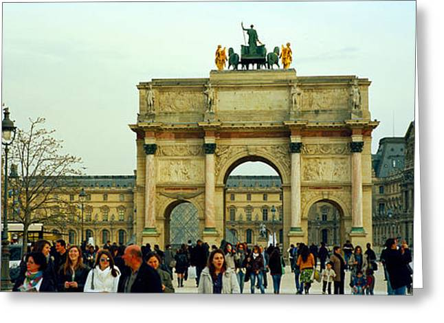 Arc De Triomphe Greeting Cards - Tourists Near A Triumphal Arch, Arc De Greeting Card by Panoramic Images