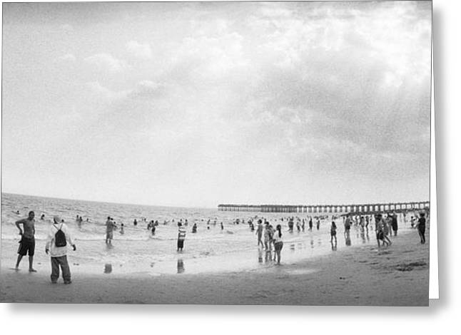 York Beach Greeting Cards - Tourists On The Beach, Coney Island Greeting Card by Panoramic Images
