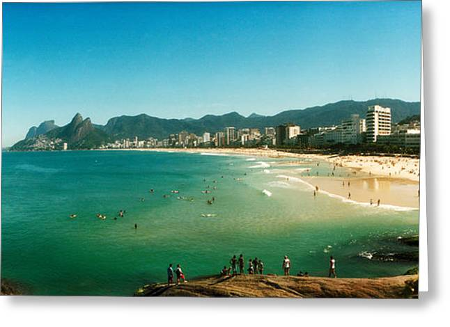 Ipanema Beach Greeting Cards - Tourists On The Beach, Ipanema Beach Greeting Card by Panoramic Images
