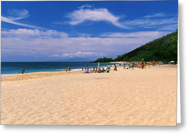 Makena Greeting Cards - Tourists On The Beach, Makena Beach Greeting Card by Panoramic Images