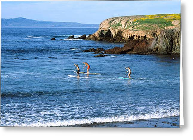 Boarder Greeting Cards - Tourists Paddleboarding In The Pacific Greeting Card by Panoramic Images