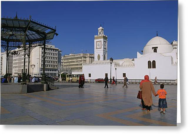 Large Clock Greeting Cards - Tourists Walking In Front Of A Mosque Greeting Card by Panoramic Images
