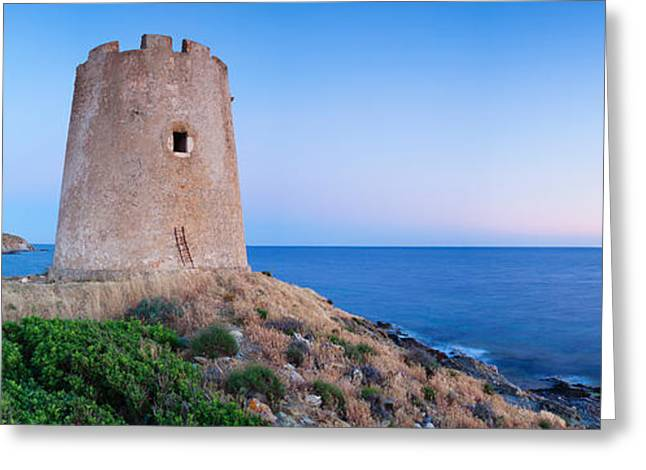 Tower At The Seaside, Saracen Tower Greeting Card by Panoramic Images