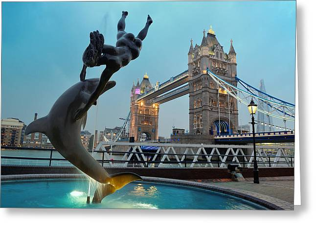 Historic Statue Greeting Cards - Tower Bridge and statue Greeting Card by Songquan Deng