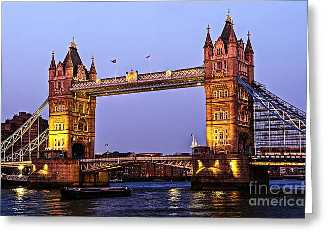 Old Tower Greeting Cards - Tower bridge in London at dusk Greeting Card by Elena Elisseeva