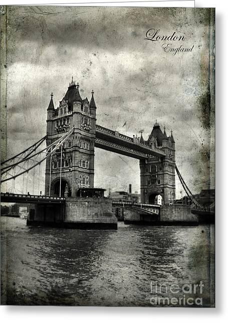 European Landmarks Greeting Cards - Tower Bridge in London Greeting Card by Jill Battaglia
