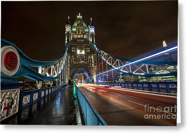 Night Scenes Greeting Cards - Tower Bridge London Greeting Card by Donald Davis