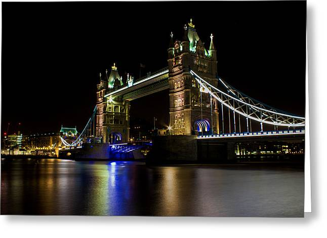 Light Trails Greeting Cards - Tower Bridge Greeting Card by Martin Newman
