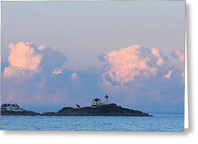 Maine Beach Greeting Cards - Towering Clouds over Nubble Light Greeting Card by Michael Saunders