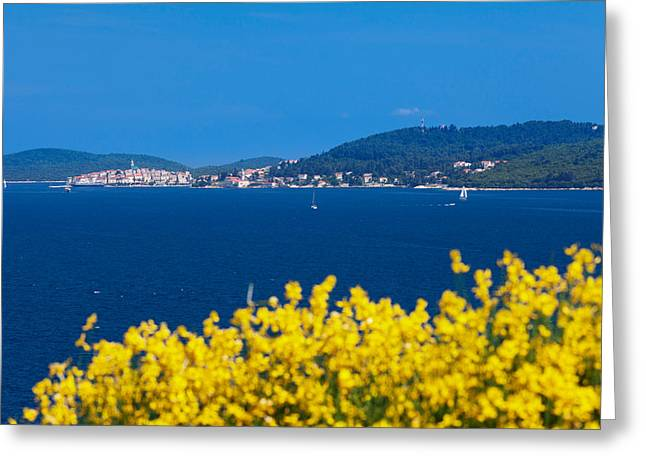 Adriatic Sea Greeting Cards - Town On An Island, Korcula, Korcula Greeting Card by Panoramic Images