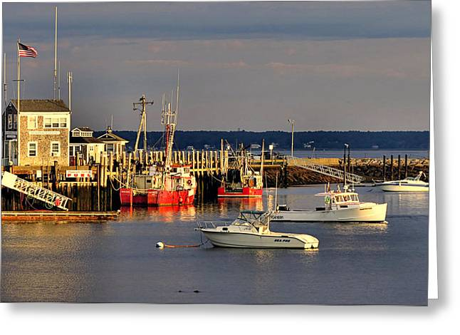 Shack Greeting Cards - Town Pier Greeting Card by Janice Drew