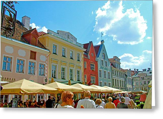 Tallinn Digital Greeting Cards - Town Square in Old Town Tallinn-Estonia Greeting Card by Ruth Hager