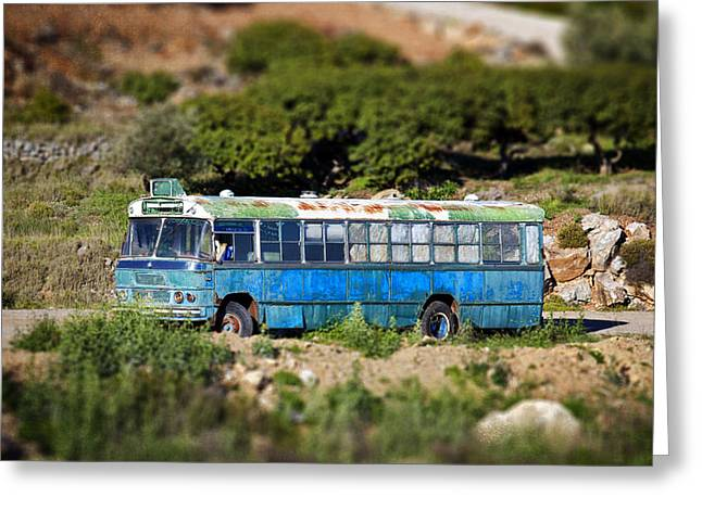 Chios Greeting Cards - Toy Bus Greeting Card by Emmanouil Klimis