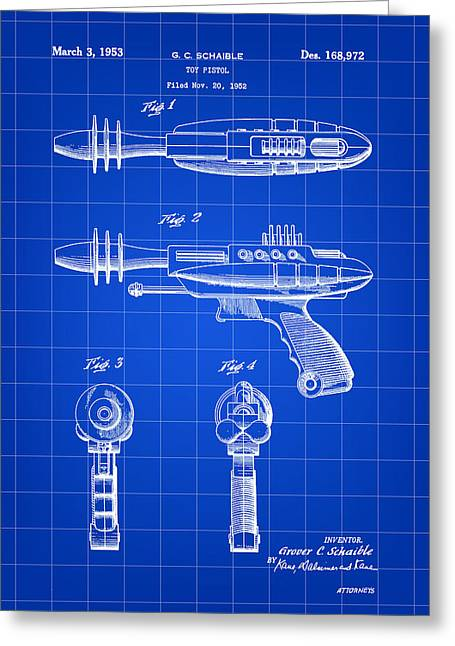 Blaster Greeting Cards - Toy Ray Gun Patent 1952 - Blue Greeting Card by Stephen Younts
