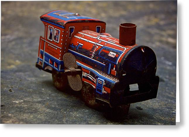 Miniature Effect Greeting Cards - Toy train. Greeting Card by Bernard Jaubert
