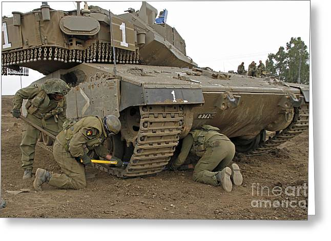 Track Replacement On A Israel Defense Greeting Card by Ofer Zidon