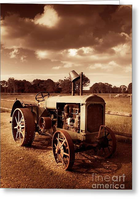 Mechanism Photographs Greeting Cards - Tractor From Yesteryear Greeting Card by Ryan Jorgensen
