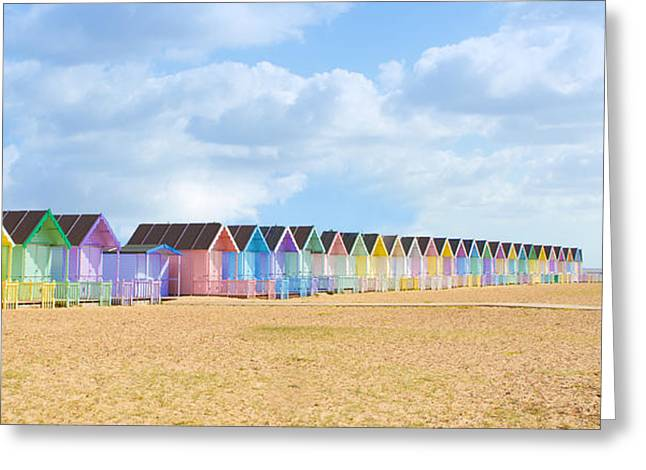 Shed Greeting Cards - Traditional British beach huts at Maldon Essex on a bright sunny day Greeting Card by Fizzy Image