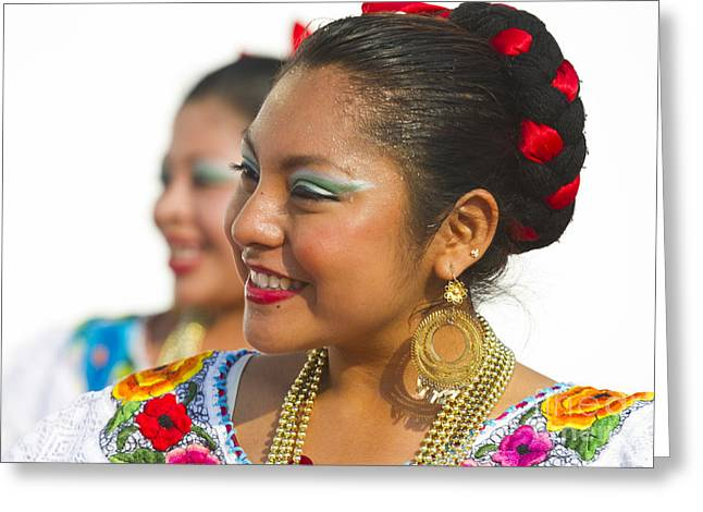 Teenage Photographs Greeting Cards - Traditional Ethnic Dancers in Chiapas Mexico Greeting Card by David Smith