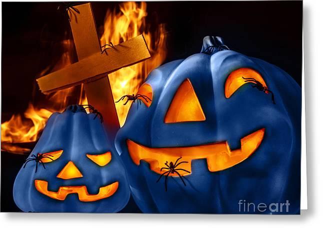 Jack O Lanterns Jackolantern Greeting Cards - Traditional Halloween decorations Greeting Card by Anna Omelchenko