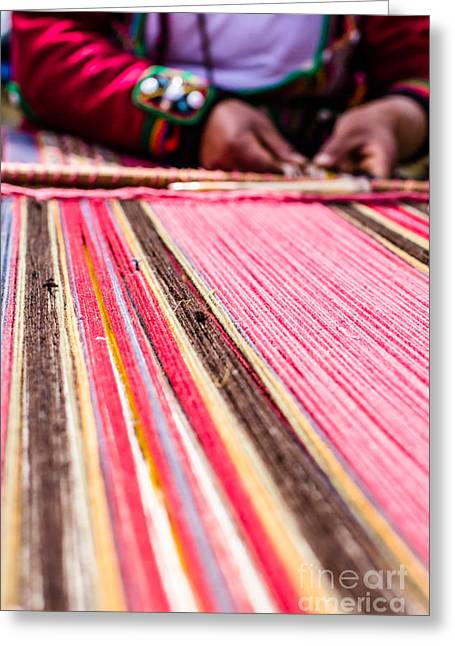 Knitted Dress Greeting Cards - Traditional hand weaving in the Andes Mountains Greeting Card by Mariusz Prusaczyk