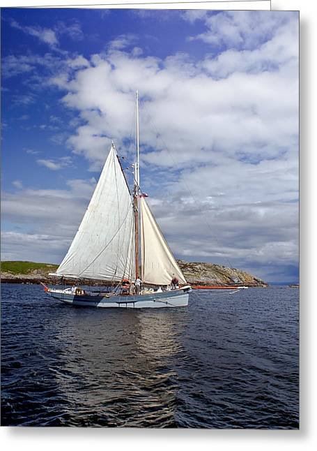 Working Boats Greeting Cards - Traditional sailing boat Greeting Card by Gary Eason