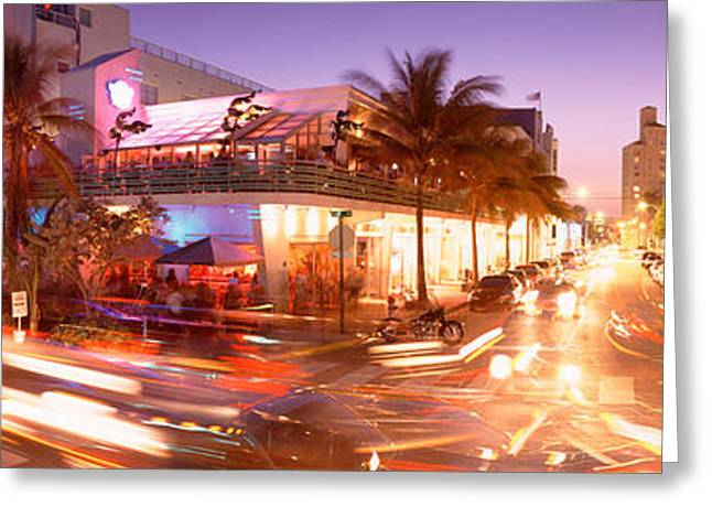 Headlight Greeting Cards - Traffic On A Road, Ocean Drive, Miami Greeting Card by Panoramic Images