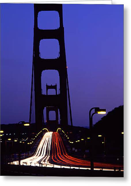 Long Street Greeting Cards - Traffic On A Suspension Bridge, Golden Greeting Card by Panoramic Images