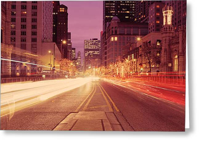 Long Street Greeting Cards - Traffic On The Road At Dusk, Michigan Greeting Card by Panoramic Images